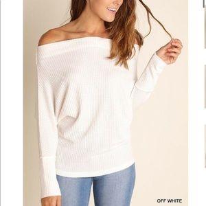 Off the shoulder dolman thermal knit top
